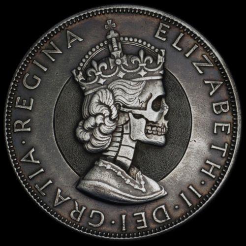 Hand Carved Engraved Silver Elizabeth 1 Crown Hobo Nickel Skull SB Seth Basista | eBay