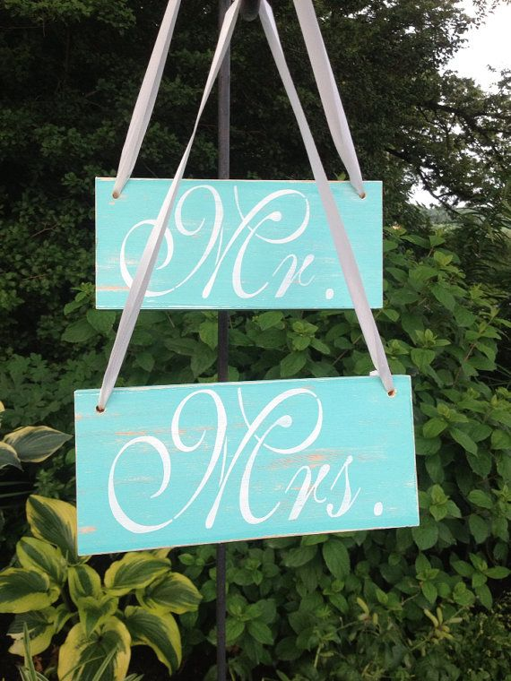 Mrs. Mr. Hanging Distressed Wedding Signs Pair, Teal Turquoise White Cream Shabby Chic Wood Sign, Rustic on Etsy, $11.99