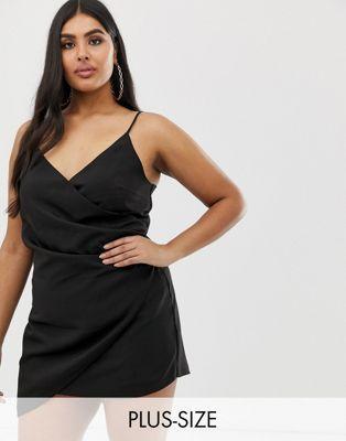 789179083f Club L London London Plus mini asymmetric cami strap mini dress in black