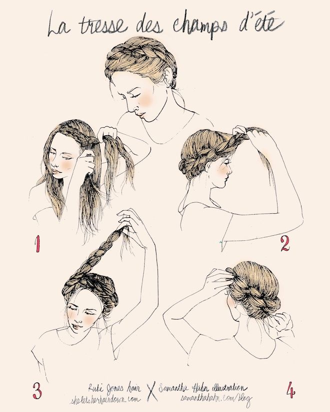 She Lets Her Hair Down :: Crown Braid Illustration by Samantha Hahn