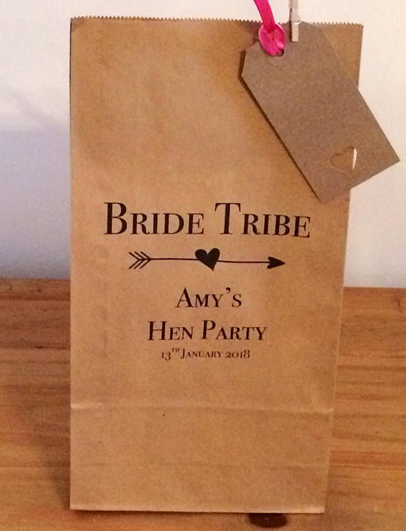 Personalised Gift Bags/ Hen Gift Paper Bags with Ribbon. Bride tribe design. Wedding/Hen Party/Gifts FREE UK Delivery | Wedding | Pinterest | Paper gifts, ...