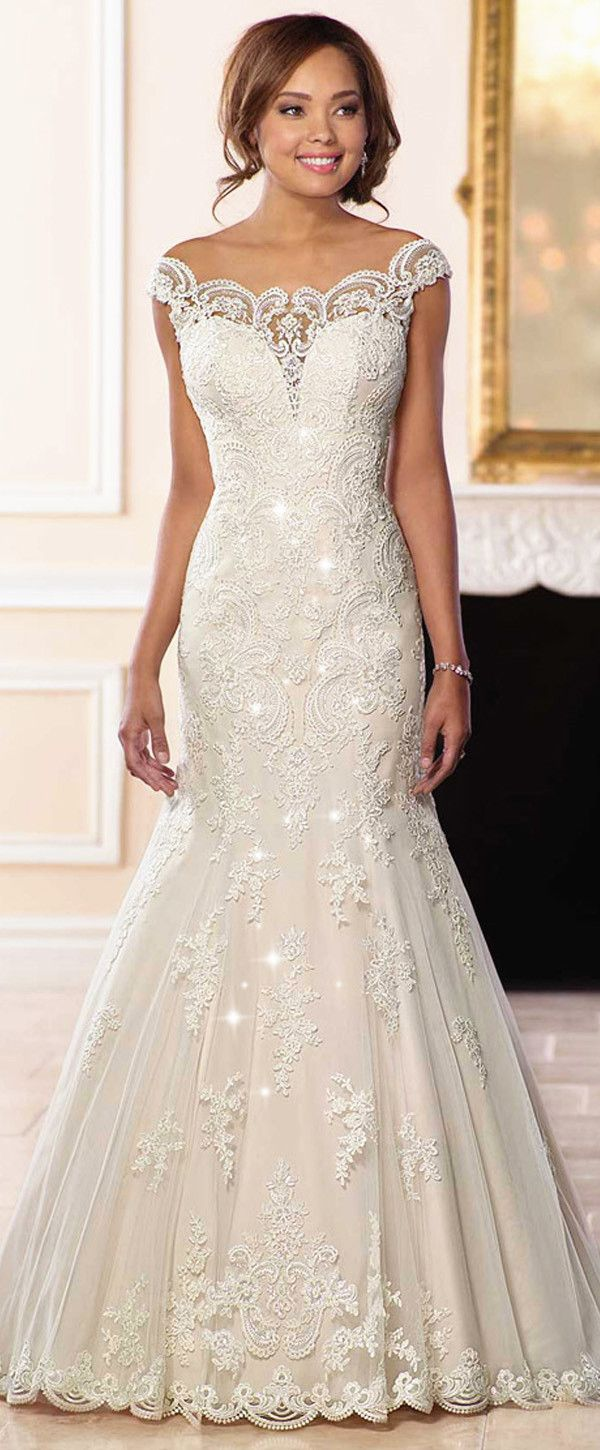 Gorgeous Tulle Off-the-shoulder Neckline Natural Waistline Mermaid Wedding Dress With Lace Appliques & Beadings