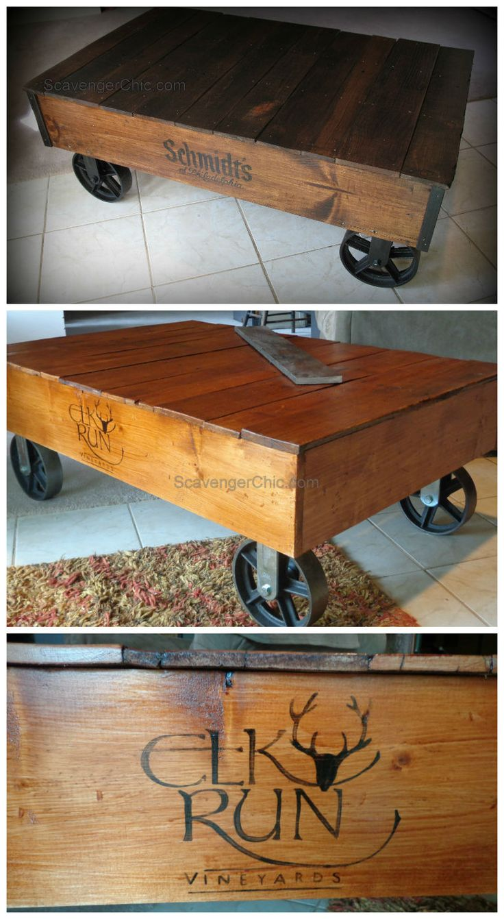 "Use pallet wood to make a factory cart. Also tells you where you can buy those industrial wheels and transfer a logo onto your coffee table/ factory cart. [symple_box color=""gray"" fade_in=""false"" float=""center"" text_align=""left"" width=""100%""] Website: ScavengerChic.com ! [/symple_box]"