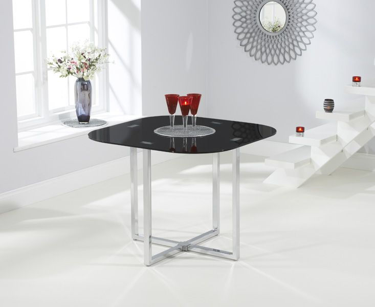 Compact And Stylish, The Algarve Black Table Combines A Smooth Black Glass  Table Top With Sleek Chrome Legs To Create A Contemporary Table That Is  Perfect ...