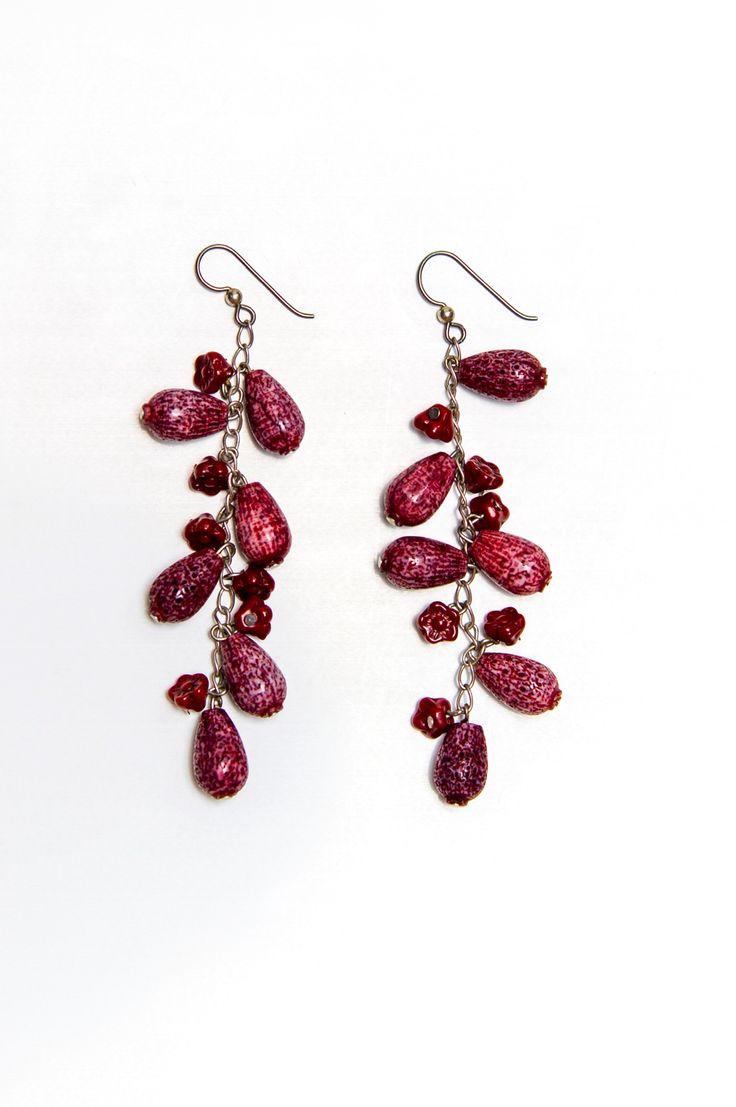 Red Tear Drop Dangling Earrings
