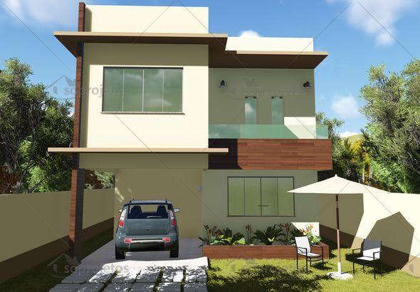 Para terrenos a partir de 10 x 22 metros, este é um projeto de um sobrado contemporâneo, que possui 153,55 metros quadrados. ...