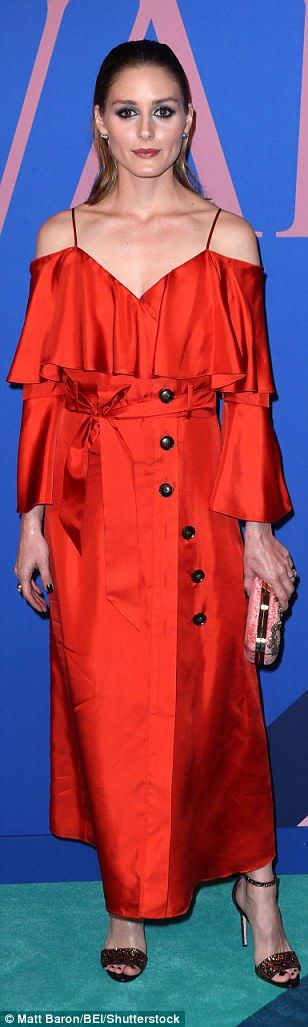 Bold:Olivia Palermo stepped out  in a bold gown by Banana Republic whileAmber Valletta w...