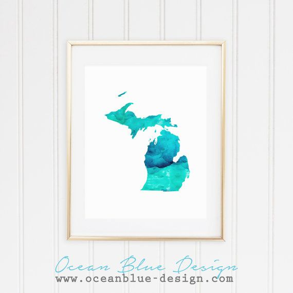 State of Michigan Map Print Blue and Aqua by OceanBlueDesign