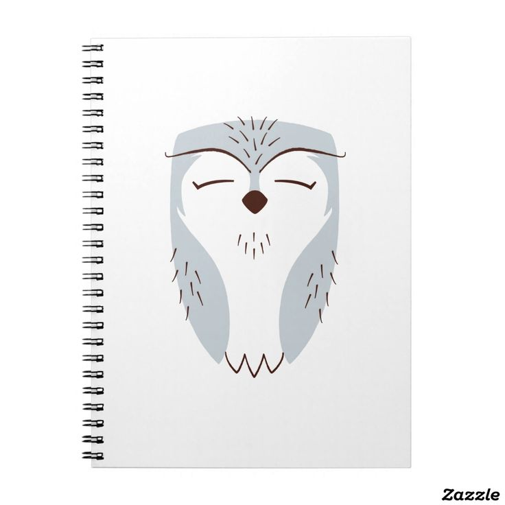 Fable Grey Owl Print Notebook (80 Pages B&W). A perfect gift idea!