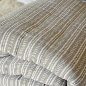 Her Shed Striped Linen & Cotton Quilt QS $358.00 Striped linen and cotton quilt in shades of mocha and white, reversing to a matching mocha cotton, or sand, putty and soft green, reversing to ivory cotton. A lightweight, yet warm summer quilt.  Machine Washable  Measures 220 x 240cm.