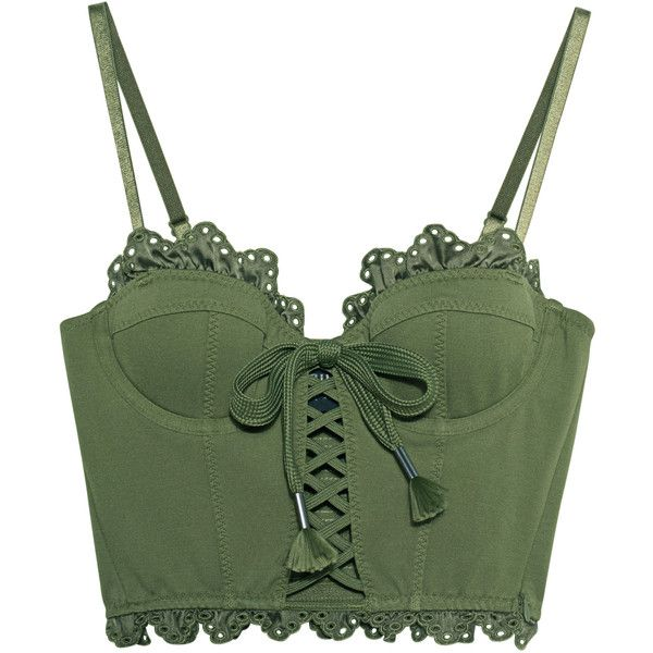 Fenty x Puma by Rihanna Ruffle Lace Trapunto Bustier Olive Branch //... ($200) ❤ liked on Polyvore featuring tops, bustier tops, lace up bustier, flounce tops, green lace top and lace bustier