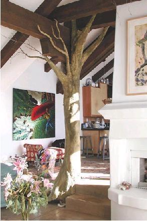 Papier mache tree indoors :)