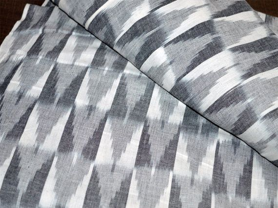 Ikat Fabric by yard, Handloom Ikat Cotton Fabric, Homespun Cotton, Ikat Upholstery Fabric, Handwoven Ikat Pattern in Grey and White Color