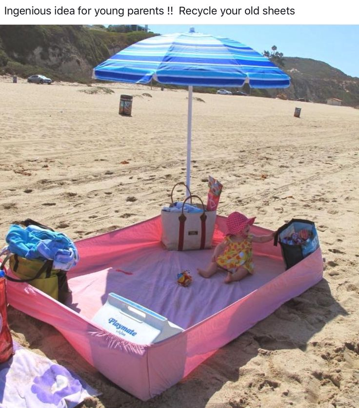 Elegant Great Idea For The Beach, Use A Fitted Sheet To Let Your Baby Crawl Around Home Design Ideas