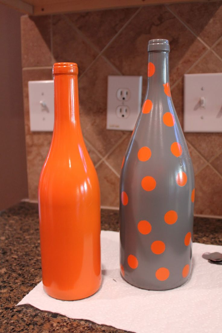 Spray paint wine bottles  for vases #diyvase