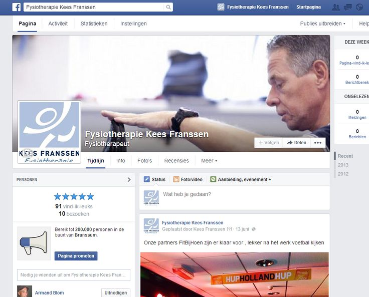 Facebook pagina Fysiotherapie Kees Franssen