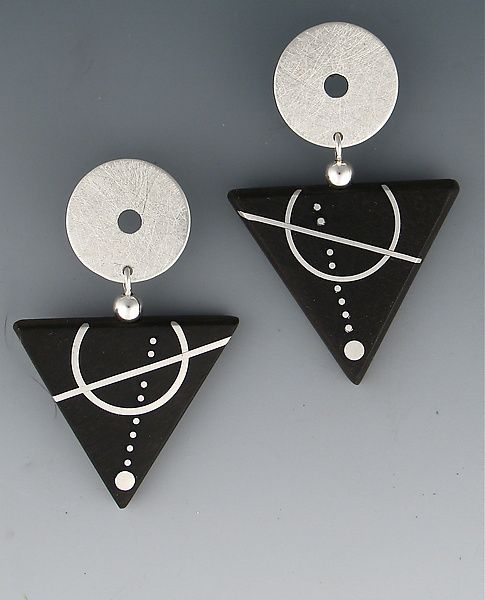 Ebony Triangle, Silver Circle Earrings by Suzanne Linquist: Silver & Wood Earrings available at www.artfulhome.com