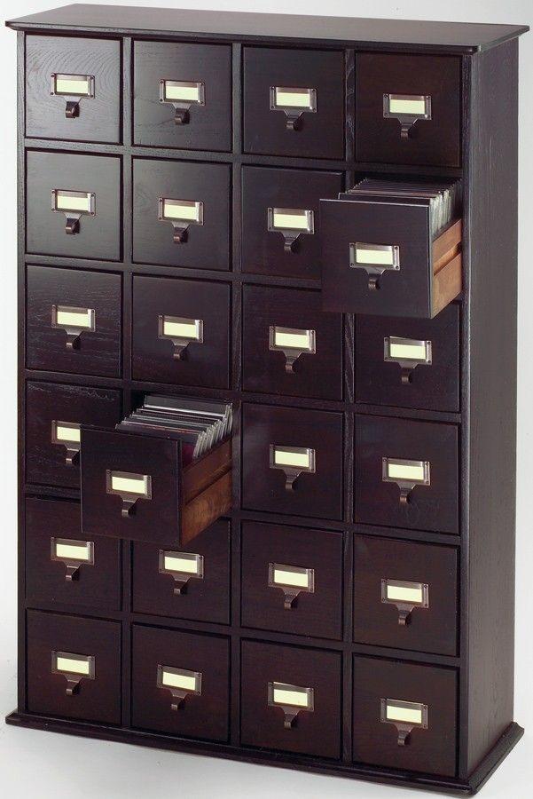Espresso Library Style DVD Cabinet - Leslie Dame DVD Storage - CD-456-78