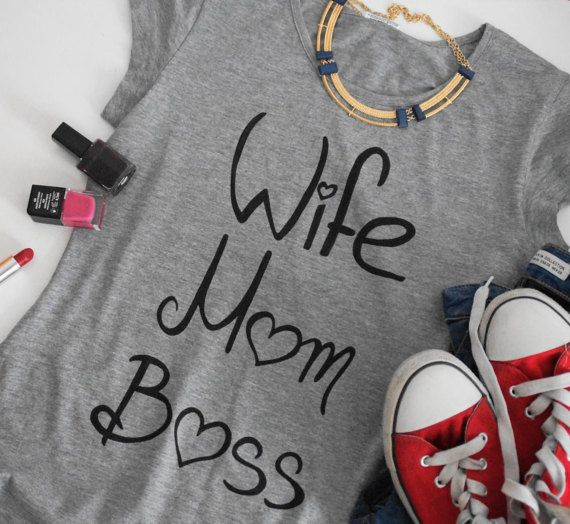 Women's Clothing Tops & Tees T-shirts Hand Painted Tshirt For Her Gift For Her Grey Tee Womens Gift Wife Mom Boss