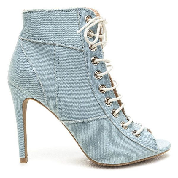Day To Denim Lace-Up Booties ($23) ❤ liked on Polyvore featuring shoes, boots, ankle booties, blue, ankle boots, high heel stilettos, lace-up ankle boots, cut-out booties, peep-toe booties and peep toe ankle boots