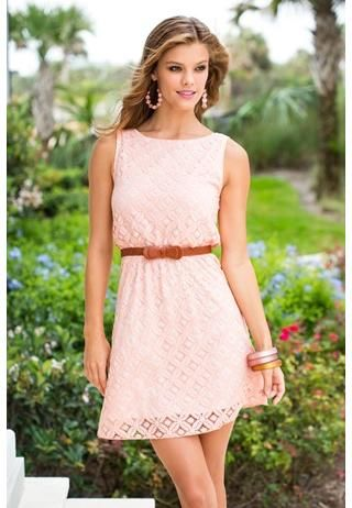 This crochet dress to me, represents Valentine's Day because it is feminine & romantic!~ The light value of the pink hue is not too much but not too little w/color. The pattern is wonderful, topped off w/a petite brown belt. ~Love~Love~Love~