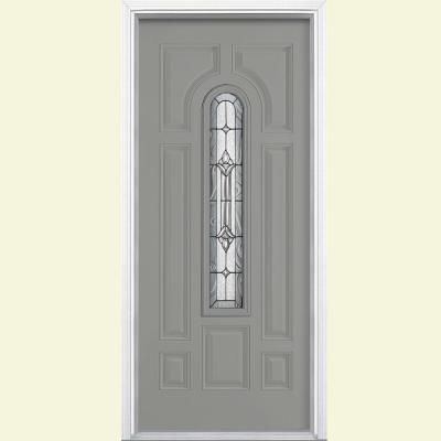 Masonite 36 in. x 80 in. Providence Center Arch Painted Smooth Fiberglass Prehung Front Door with Brickmold - 36539 - The Home Depot