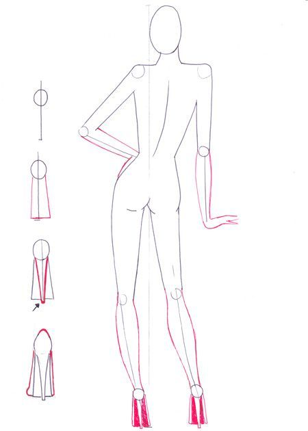Draw back view pose | Fashion Drawing | Templates and Tutorials