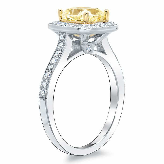 cushion cut canary diamond ring yellow diamond. Black Bedroom Furniture Sets. Home Design Ideas