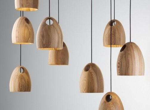 Wood Pendant Lamps Made From Oak By Ross Gardam