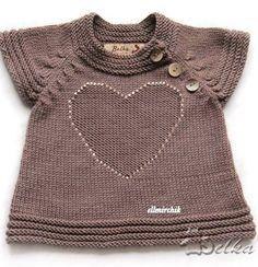 Вязанная спицами кофта с сердечком - Вязание на годовалых девочек - Вязание детям на год - Схемы и модели - Вяжем вместе
