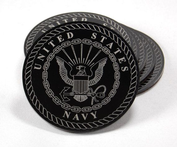 "US Navy Emblem set of 6 coasters laser engraved on 1/8"" black acrylic with a felt backing to protect your tabletop!"