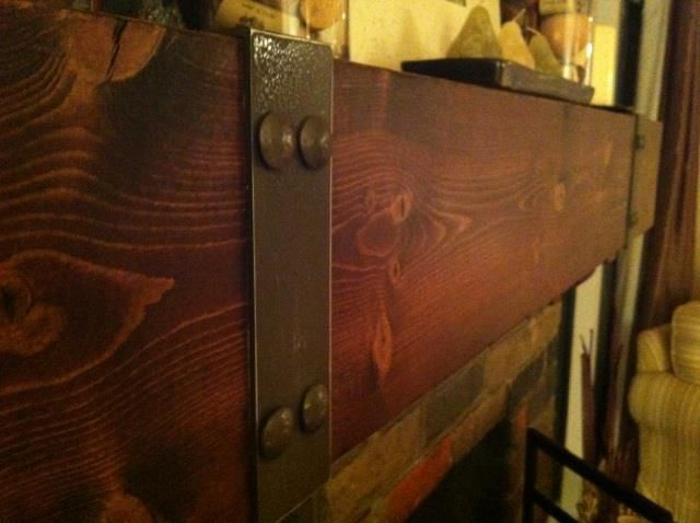 railyard shelves  Google Search  Roosevelt Fireplace  Fireplace mantle Railroad ties Diy