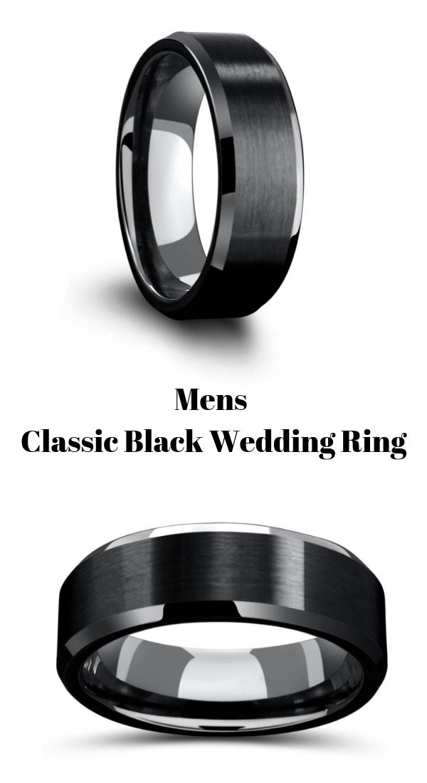 This Men S All Black Wedding Ring Is Crafted Out Of Tungsten