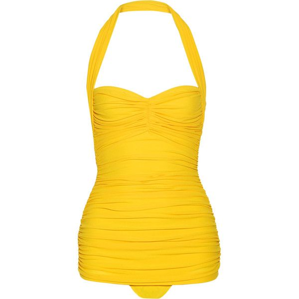 Norma Kamali - Bill Mio Ruched Halterneck Swimsuit ($175) ❤ liked on Polyvore featuring swimwear, one-piece swimsuits, swim suits, swimsuits, yellow, retro high waisted bikini, halter bikini tops, yellow one piece swimsuit, high waisted swimsuit and high-waisted bikinis