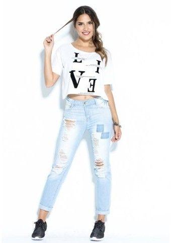 Džínsy v obnosenom etno vzhľade #Modinosk #džínsy #jeans #streetstyle