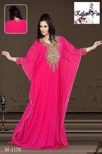 The Pink Arabian Princess Kaftan is made using the finest quality crystals and luxurious 100% silk chiffon. www.kaftan4you.com