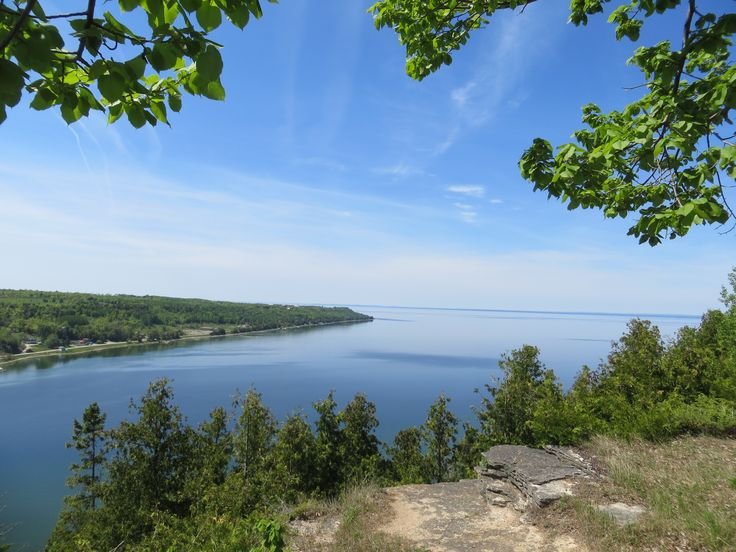 The view from the East Bluff lookout point, overlooking Gore Bay, Manitoulin Island.