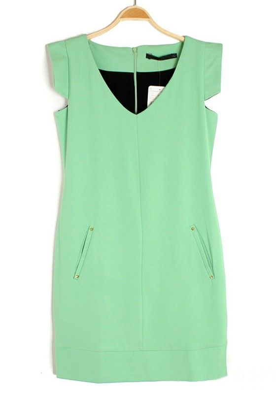 Green Rivet Zipper V-neck Cap Sleeve Chiffon Dress