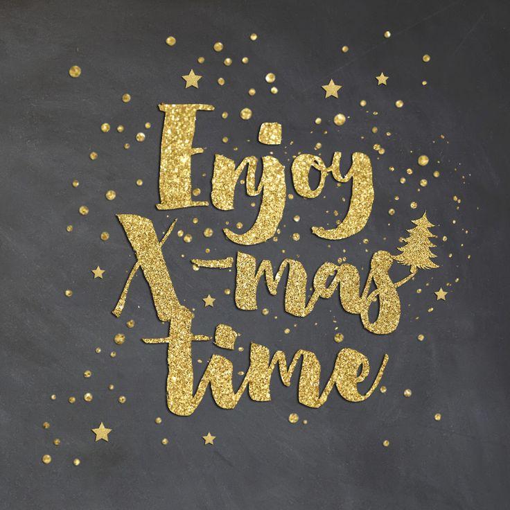 Originele kerstkaart met krijtbord look! Met hippe brush fonts, confetti en sterren in een goud glitter look. Verkrijgbaar bij #kaartje2go voor € 1,89