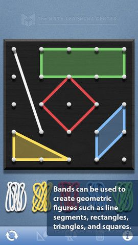 The Geoboard is a FREE iOS App for exploring a variety of mathematical topics introduced in the elementary and middle grades. Learners stretch bands around pegs to form line segments and polygons and make discoveries about perimeter, area, angles, congruence, fractions, and more.