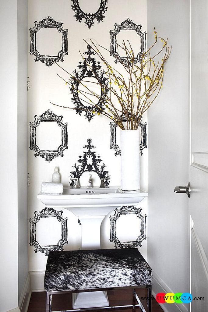 Bathroom:Decorating Modern Summer Bathroom Decor Style Tropical Bath Tubs Ideas Contemporary Bathrooms Interior Minimalist Design Decoration Plans Frame Motif Wallpaper Adds A Bold Touch Cool and Cozy Summer Bathroom Style : Modern Seasonal Decor Ideas