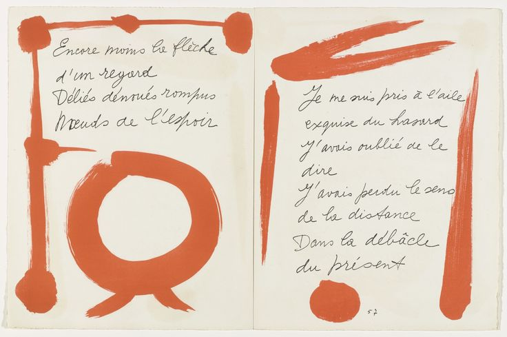 Picasso and poet Pierre Reverdy became friends in the early 1910s. Reverdy composed these poems during World War II, and they are written here in his hand; Picasso responded with illuminations. The book's publisher, Tériade, was an admirer of illuminated manuscripts, and many of the books he published with artists feature handwritten texts.