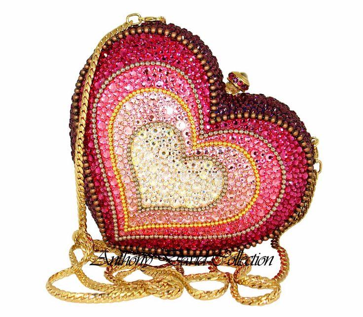 Swarovski Crystal Heart Handbag Evening Bag, Purse by Anthony David.