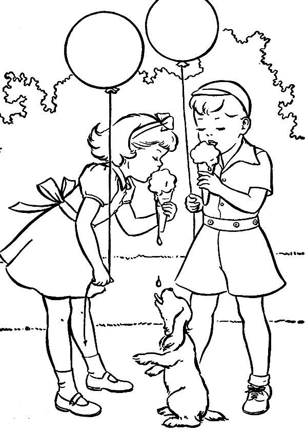 Днем, девочка с шарами раскраска