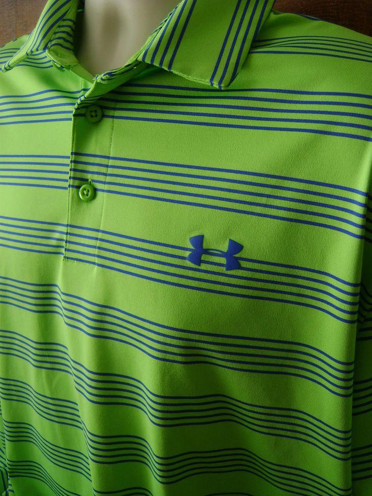 Under armour heat gear golf polo shirt mens xl loose high for Under armour heat gear button down shirt
