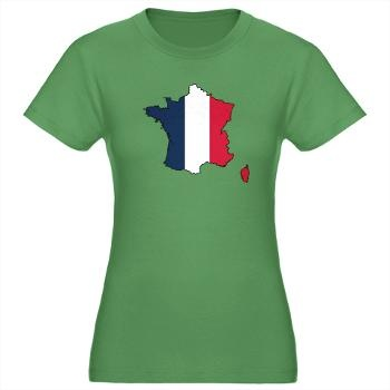 Flag Map of France Women's Fitted T-Shirt (dark)