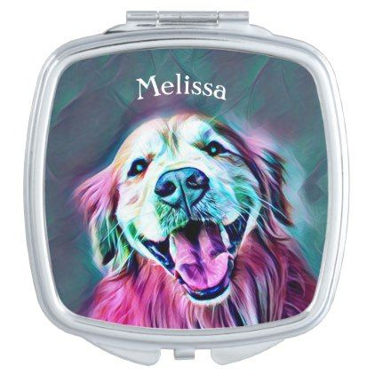 Golden Retriever Dog in Neon Colors Custom Mirror For Makeup - pink gifts style ideas cyo unique