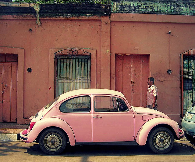 Drive a pink car in a pink place!
