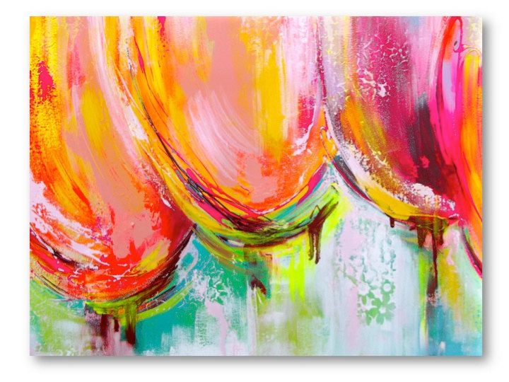 Large Original Abstract  Painting Tulips Pink, Orange, Teal Landscape Modern Texture on Canvas. $255.00, via Etsy.