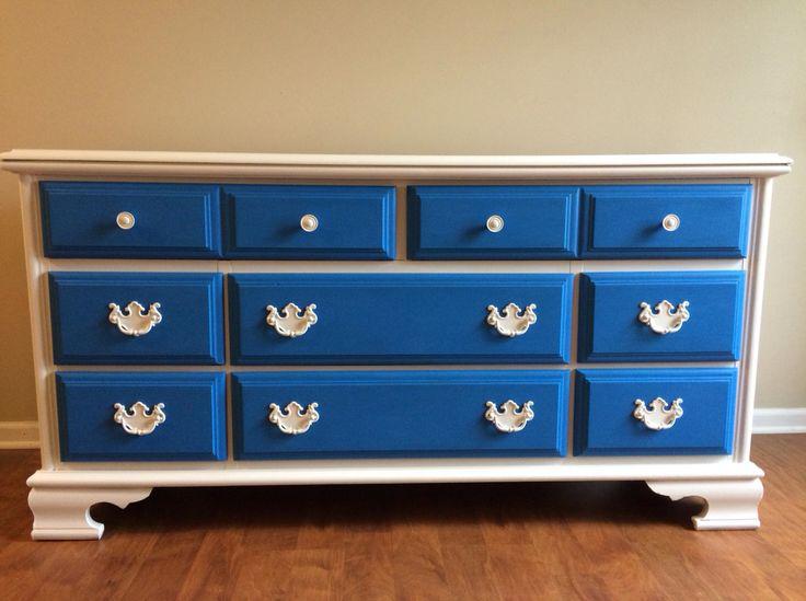 Best Refinished Long Dresser Royal Blue Cobalt White Chalk 400 x 300